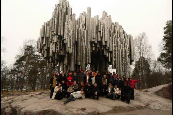 Helsinky - pomník J. Sibelia