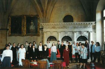 rozezpívání v trůnním sále Soběslavova paláce
